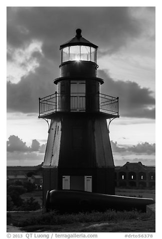 Harbor Light and gun at sunset. Dry Tortugas National Park (black and white)
