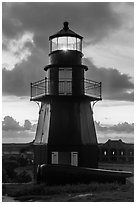 Harbor Light and gun at sunset. Dry Tortugas National Park ( black and white)
