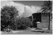 Camping. Dry Tortugas National Park, Florida, USA. (black and white)