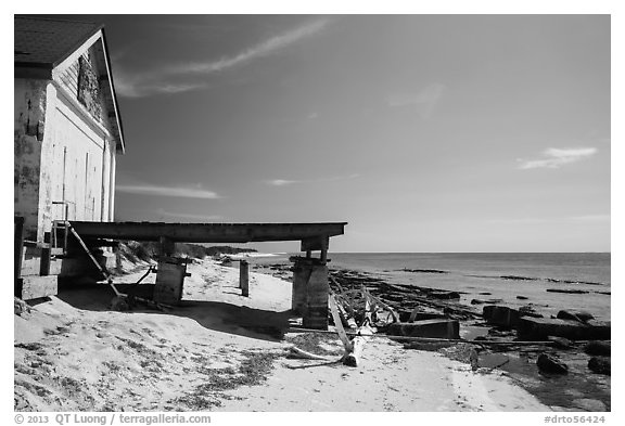 Shack and pier on Loggerhead Key. Dry Tortugas National Park (black and white)