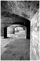 Casemate on the first floor of Fort Jefferson. Dry Tortugas National Park, Florida, USA. (black and white)