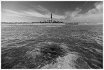 Coral head and Loggerhead Key light. Dry Tortugas National Park, Florida, USA. (black and white)