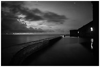 Fort Jefferson at dusk with stars. Dry Tortugas National Park, Florida, USA. (black and white)