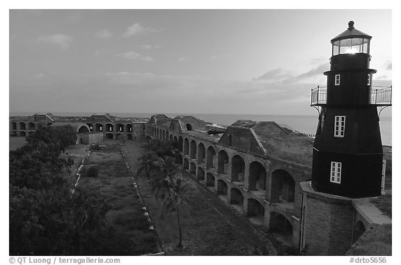 Fort Jefferson lighthouse and inner courtyard, dawn. Dry Tortugas National Park (black and white)