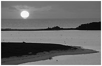 Sunrise over Long Key and Atlantic Ocean. Dry Tortugas National Park, Florida, USA. (black and white)