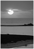 Sun rising over Long Key. Dry Tortugas National Park, Florida, USA. (black and white)