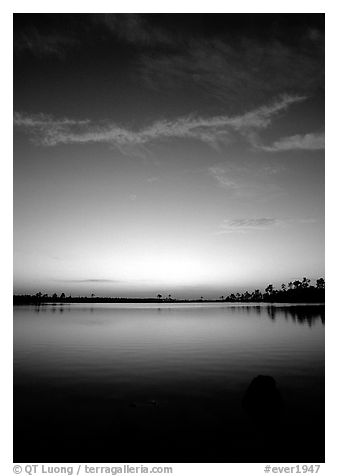 Sky and Pine Glades Lake, dusk. Everglades National Park (black and white)