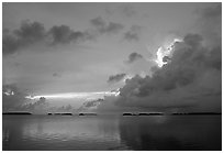 Clearing storm on Florida Bay seen from the Keys, sunset. Everglades National Park ( black and white)
