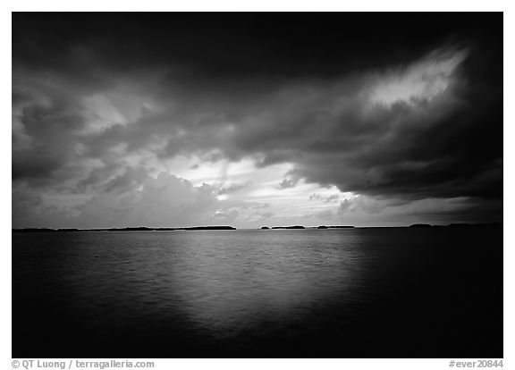 Storm clouds over Florida Bay at sunset. Everglades  National Park (black and white)