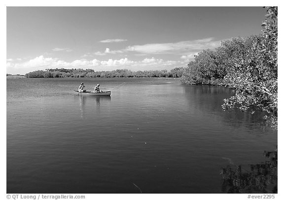 Canoists fishing. Everglades National Park (black and white)
