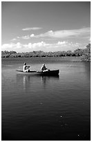 Fishing from a red canoe. Everglades National Park ( black and white)