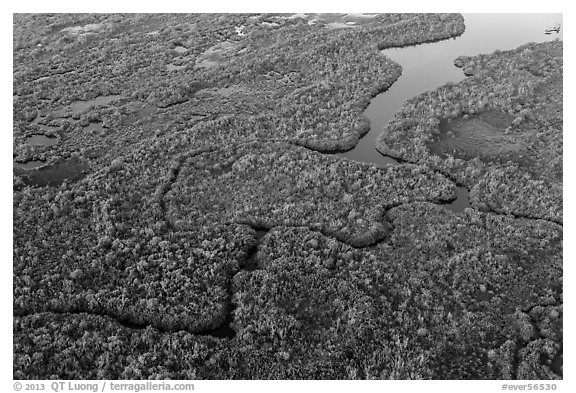 Aerial view of river and lake with chickees. Everglades National Park (black and white)