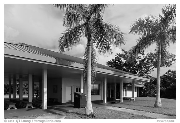 Royal Palms VisitorGr Center. Everglades National Park (black and white)