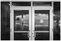 Florida Bay, Flamingo visitor center window reflexion. Everglades National Park ( black and white)