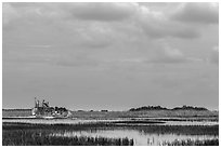 Airboat. Everglades National Park, Florida, USA. (black and white)