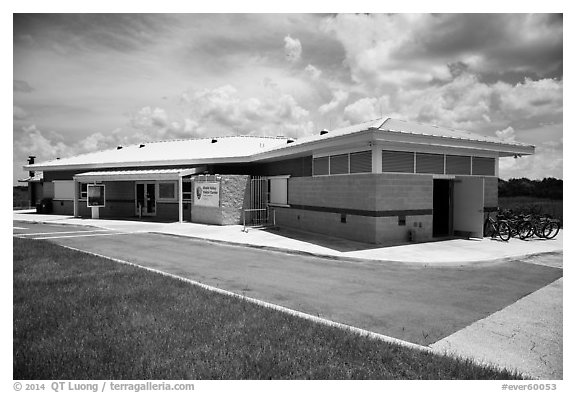 Shark Valley visitor center. Everglades National Park (black and white)
