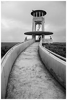 Observation tower and visitors, Shark Valley. Everglades National Park ( black and white)