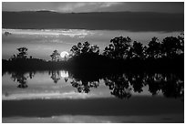 Sun setting, Pines Glades Lake. Everglades National Park ( black and white)