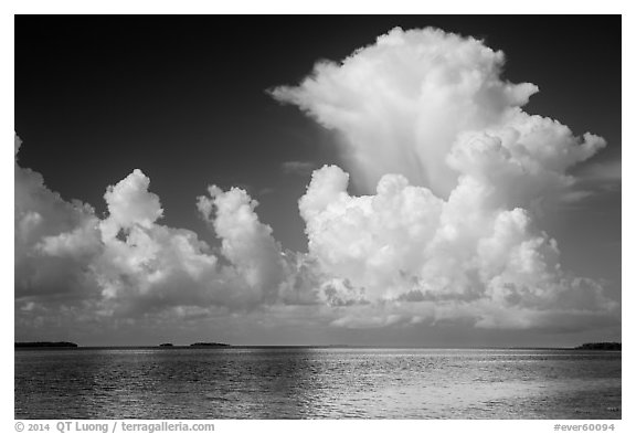Summer clouds above Florida Bay. Everglades National Park (black and white)