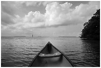 Canoe pointing to Florida Bay. Everglades National Park ( black and white)
