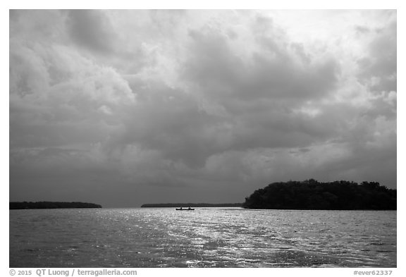 Storm clouds and canoe, Florida Bay. Everglades National Park (black and white)