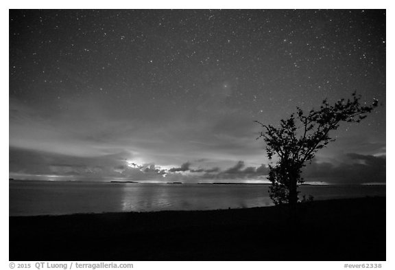 Thunderstorms at night over Florida Bay seen from Flamingo. Everglades National Park (black and white)