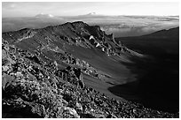 Haleakala crater from White Hill at sunrise. Haleakala National Park, Hawaii, USA. (black and white)