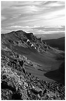 Crater rim and clouds  at sunrise. Haleakala National Park, Hawaii, USA. (black and white)