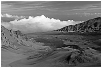 Clouds and Haleakala crater. Haleakala National Park, Hawaii, USA. (black and white)