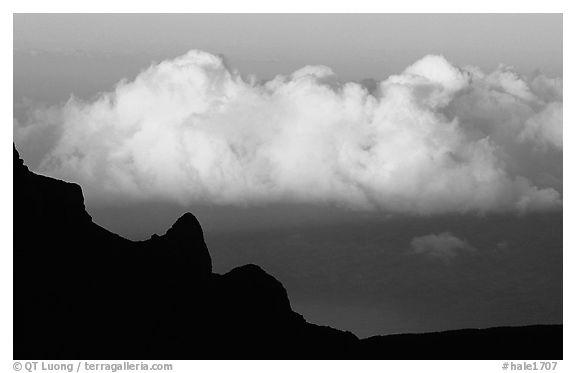 Clouds and Haleakala crater, evening. Haleakala National Park (black and white)