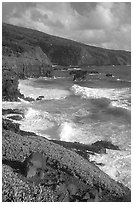 Seascape with waves and coastline, and cliffs,  Kipahulu. Haleakala National Park, Hawaii, USA. (black and white)