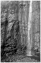 Waimoku Falls, more than 300 feet high. Haleakala National Park, Hawaii, USA. (black and white)