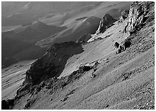 Haleakala crater slopes and cinder cones at sunrise. Haleakala National Park, Hawaii, USA. (black and white)