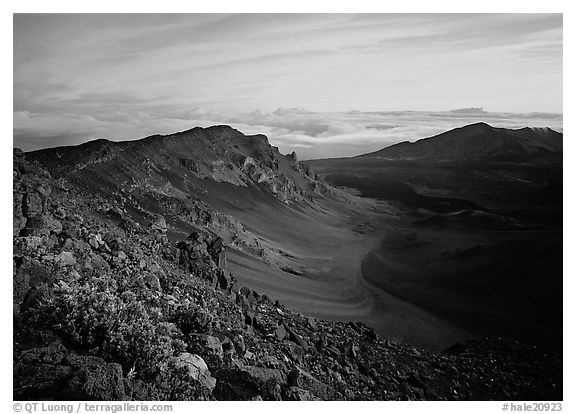 Haleakala crater and clouds at sunrise. Haleakala National Park (black and white)