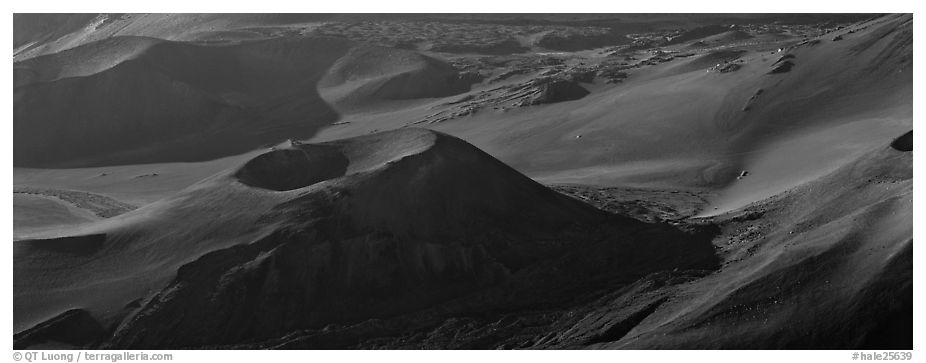 Volcanic landforms with cinder cones. Haleakala National Park (black and white)
