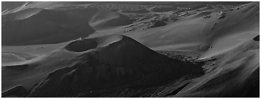Volcanic landforms with cinder cones. Haleakala National Park (Panoramic black and white)