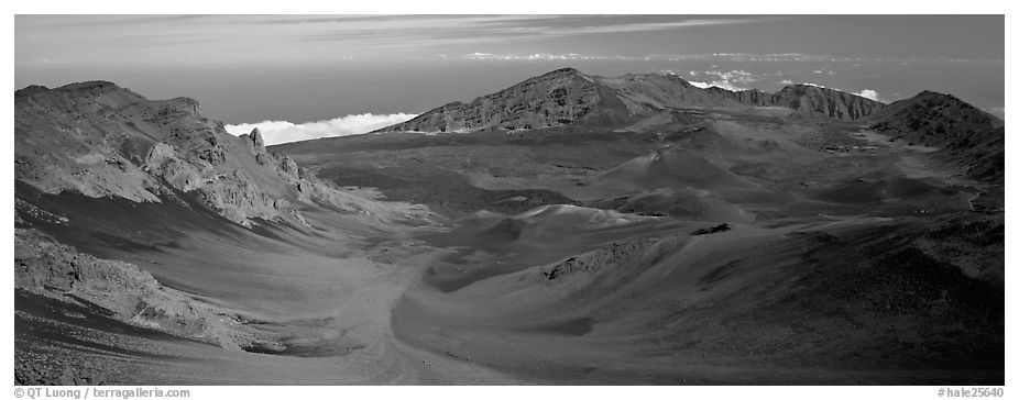 Volcanic landscape with brightly colored ash. Haleakala National Park (black and white)