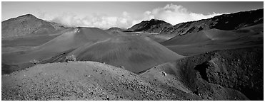 Volcanic scenery with colorful ash inside Haleakala crater. Haleakala National Park (Panoramic black and white)