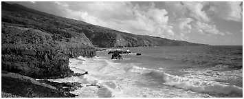Coastline with volcanic cliffs and strong surf. Haleakala National Park (Panoramic black and white)