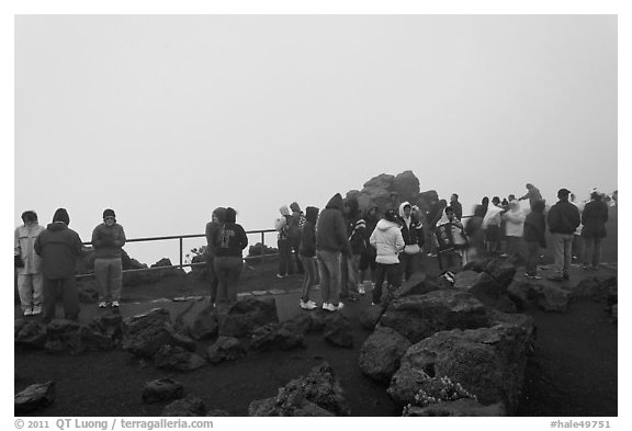 Tourists waiting for sunrise. Haleakala National Park (black and white)
