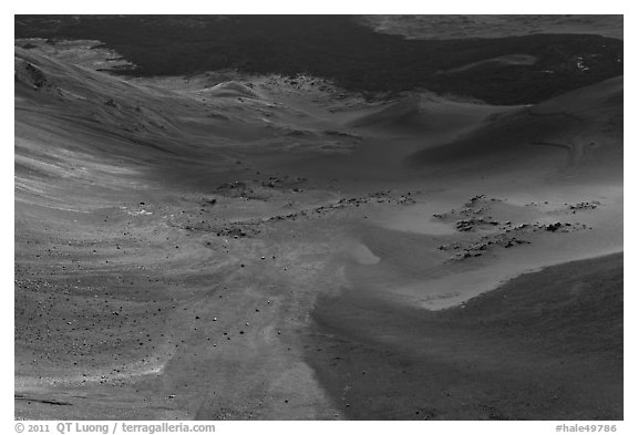 Red Cinder flow and green vegetated ridge in Haleakala Crater. Haleakala National Park (black and white)