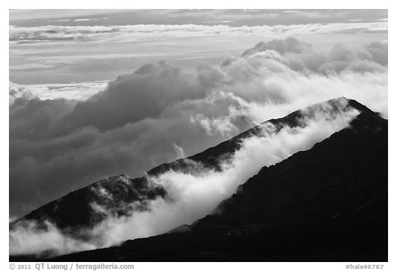Crater ridges with clouds. Haleakala National Park (black and white)