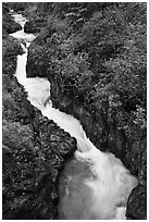 Pipiwai Stream in Oheo Gulch. Haleakala National Park, Hawaii, USA. (black and white)