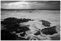 Waves breaking on volcanic rocks. Haleakala National Park ( black and white)