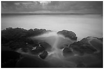 Long exposure of ocean and rocks, Kuloa Point. Haleakala National Park, Hawaii, USA. (black and white)