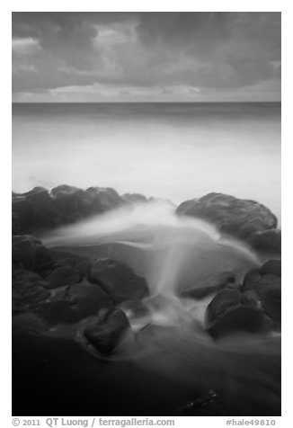 Surf, rocks, ocean and clouds, long exposure. Haleakala National Park (black and white)