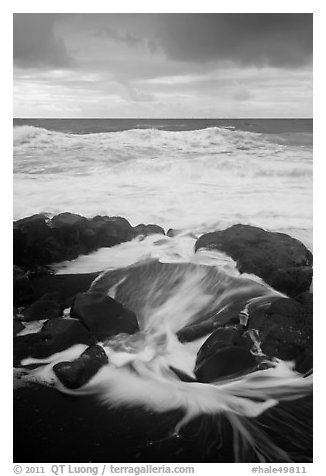 Surf, rocks, ocean and clouds. Haleakala National Park (black and white)