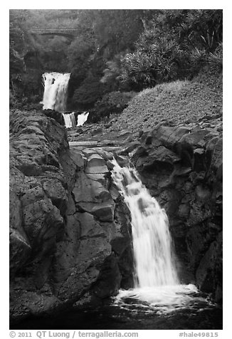 Waterfalls and bridge,  Seven Sacred Pools, Kipaluhu. Haleakala National Park (black and white)