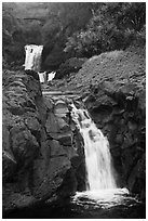 Waterfalls and bridge,  Seven Sacred Pools, Kipaluhu. Haleakala National Park, Hawaii, USA. (black and white)