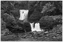 Waterfalls during high water,  Seven Sacred Pools. Haleakala National Park, Hawaii, USA. (black and white)